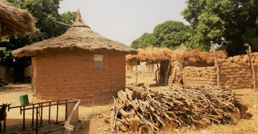 Here you can see a square structure built from adobe bricks